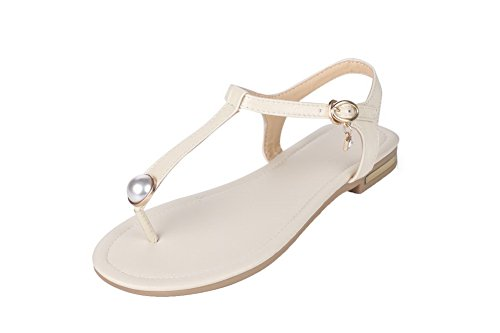 Toe Low Split Women Sandals Buckle Solid Beige Material Heels VogueZone009 Soft wI8PqA