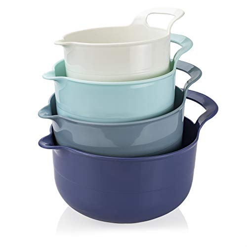Cook with Color Mixing Bowls – 4 Piece Nesting Plastic Mixing Bowl Set with Pour Spouts and Handles (Ombre Blue)
