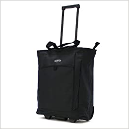 Olympia Luggage Rolling Shopper Tote, Black,
