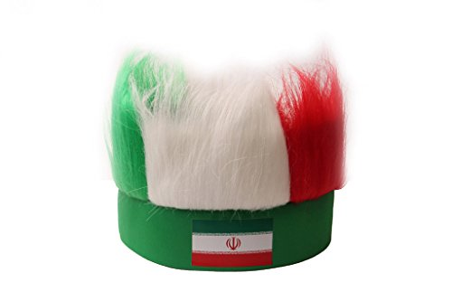 Dantiya Men's Costume Sports Football Soccer Fan Wig 32 Countries (Iran)