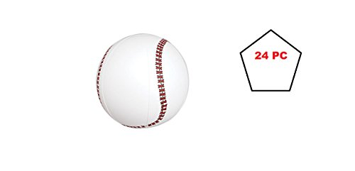 (24) INFLATABLE BASEBALLS ~ 16'' Fun Birthday Favor Toy outdoor Pool Beach ~ Great for Sports Themed Parties ~ Prizes Gifts Fundraisers ~ Play Ball Parties ~ NBL