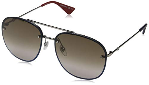 Gucci GG 0227S 002 Ruthenium Metal Oval Sunglasses Brown Gradient Lens