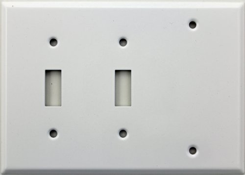 Smooth White Three Gang Wall Plate - Two Toggle Switches One Blank ()