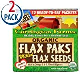 Carrington Farms Flax Paks Organic Milled Flax Seeds -- 12 Packets Each / Pack of 2