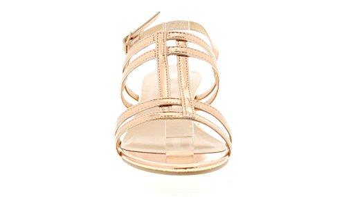 Platino Mujer Elegante Sandalia de Tacón de Bloque Tiras Empeine y Ajustable, Cierre de Hebilla, Tira EN Tobillo a La Moda de Campana Tacón EN Bloque EN Usable 4cm Altura del Tacón - R