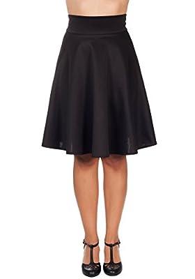 Sidecca Retro High Waist Knee Length Circle Skater Skirt