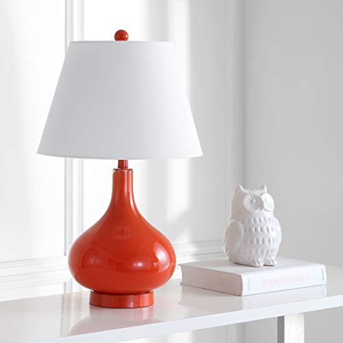 Safavieh Lighting Collection Amy Blood Orange Gourd Glass 24-inch Table Lamp ()