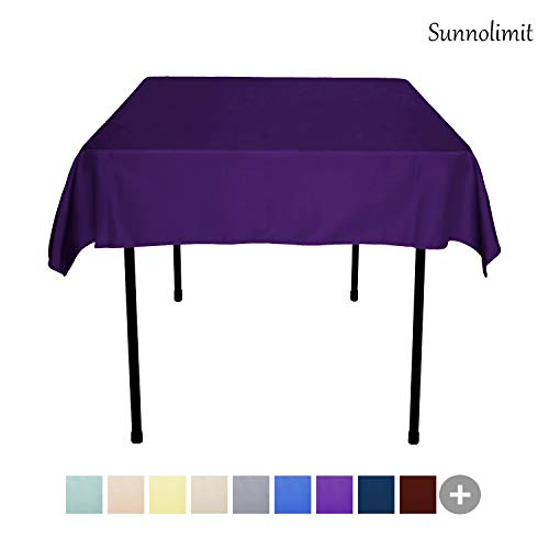 Sunnolimit Tablecloth - 54 x 54 Inch -Purple-Square Polyester Table Cloth, Wrinkle,Stain Resistant - Great for Buffet Table, Parties, Holiday Dinner & More