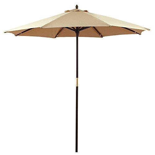9 Foot Round Fabric Heavy Duty Bistro Outdoor Hardwood Patio Umbrella, Natural