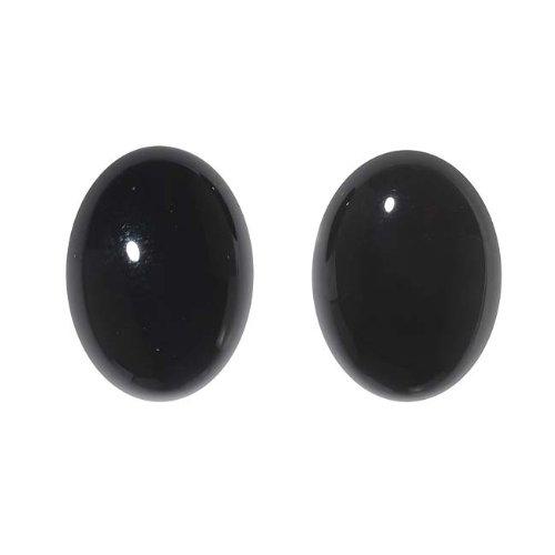 Beadaholique Black Onyx Gemstone Oval Flat-Back Cabochons 18x13mm (2 Pieces)