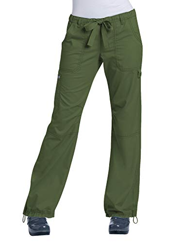 KOI Women's Lindsey Ultra Comfortable Cargo Style Scrub Pants, Olive Green, Medium