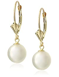 White Akoya Cultured High Luster Pearl Design Leverback Dangle Earrings