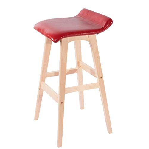 (Bar Stools Bar Chair- Household Northern Europe Solid Wood Simple Modern High Stool Fashion Bar Chair JINRONG (Color : Red))