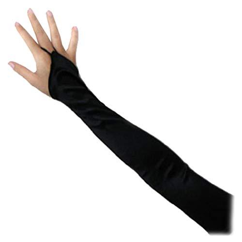SACAS Long Fingerless Satin Gloves in Black One Size -