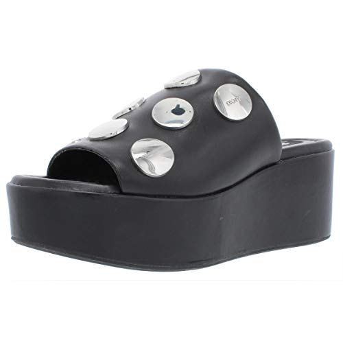 DKNY Womens Catrina 2 Leather Slide Wedge Sandals Black 7 Medium (B,M)