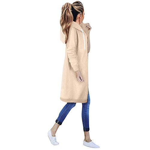 iYBUIA Autumn Winter Women Warm Zipper Open Hoodies Sweatshirt Long Coat Jacket Tops Outwear with Pockets