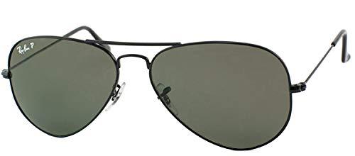RAY-BAN Aviator Sunglasses, Black/Crystal Green Polarized, 62 ()