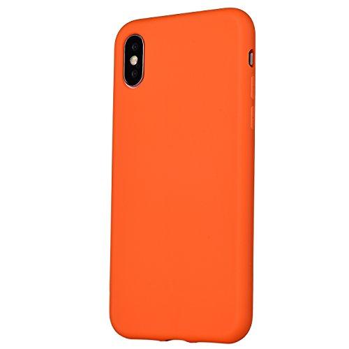iPhone X Case,iPhone Xs Case, Manleno Slim Fit Skin Feel Soft TPU Bumper Back Cover Case for iPhone X Xs 5.8 inch (Orange)