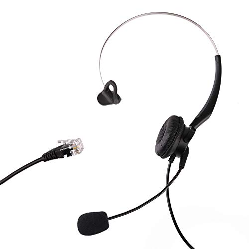 LotFancy Calltel Headset Headphone with Mic for Cisco IP Phone 7931 7940 7941 7942 7945 7960 7961, Plantronics Vista Modular Adapter M10 M12 M22 MX10, Coiled Cord with RJ9 Plug, ()