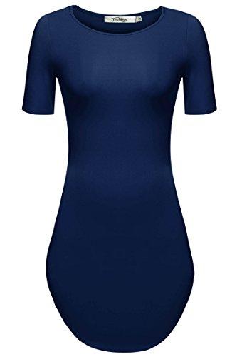 Meaneor Women's Irregular Hem Short Sleeve Round Neck Mini T Shirt Dress Navy Blue S (Teen Sexy Dress)