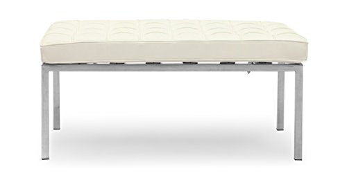 Kardiel Florence Knoll Style Bench 2 Seater, Cream White Premium Leather
