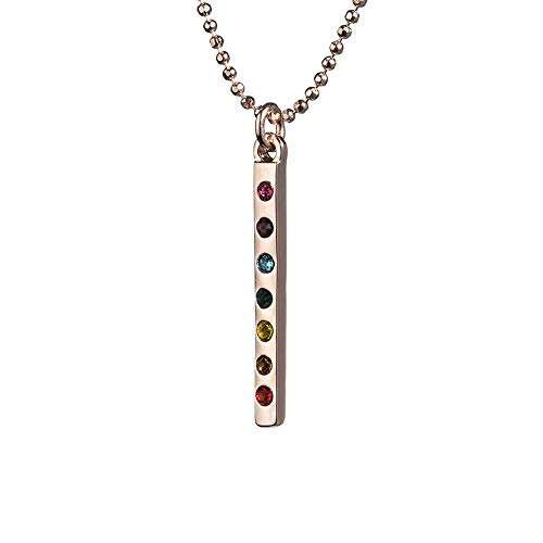 'Shanti By MIRA' Rose Gold Longline Bar Necklace Or Earrings With Chakra Gemstones Elegant Jewelry For Balance Power Strength Reiki Positive Vibes Sent In Gift Box (Rose Gold Necklace)