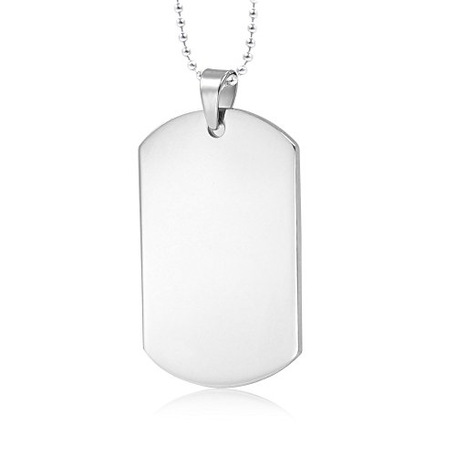 Mealguet Jewelry MG Customize Personalized Stainless Steel High Polished Plain Dogtag Pendant Necklaces for People with 24