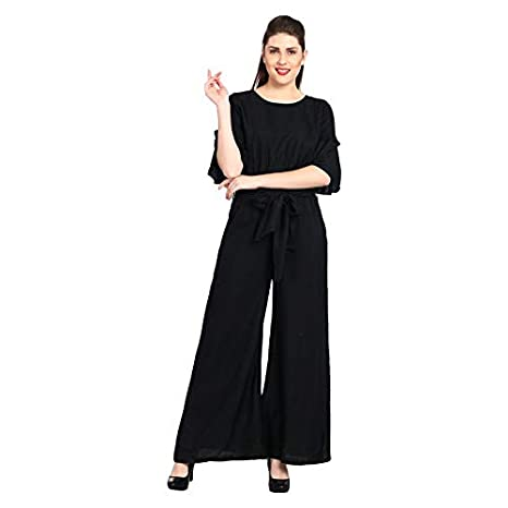 2fe3a79dc9f Stylation Rayon Black Ruffle Sleeves Jumpsuit  Amazon.in  Clothing    Accessories
