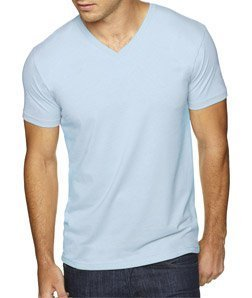 (Next Level Apparel 6440 Mens Premium Fitted Sueded V-Neck Tee - Light Blue,)