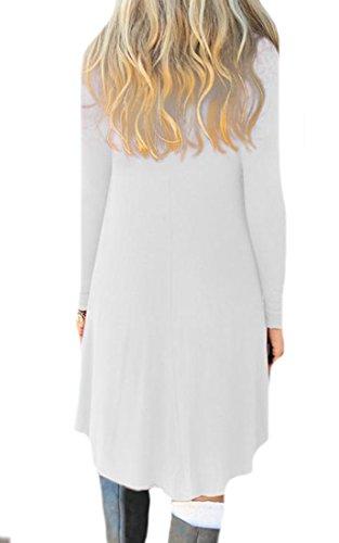 Cruiize Des Femmes De Manches Longues Occasionnels Drapé Abricot Solide Robe Lâche Tunique Ajustement Petite