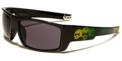 Yellow SDK SUNGLASSES Skull green hombre Gafas Lens de sol para Black Smoke 1w60qf