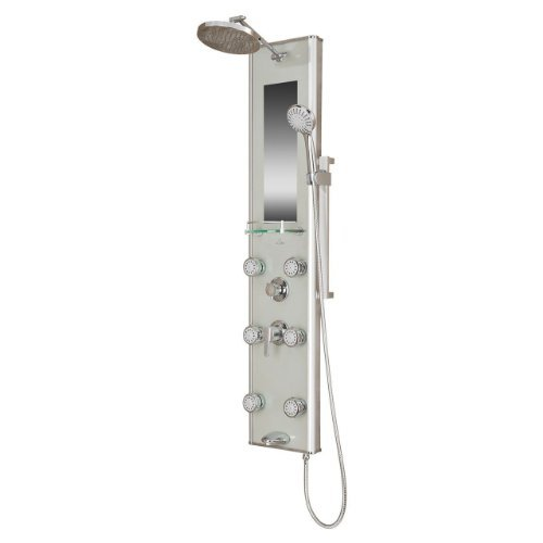 Pulse 1013-GL Kihei II Shower Spa with Silver Glass and Chrome Hardware, Silver/Chrome