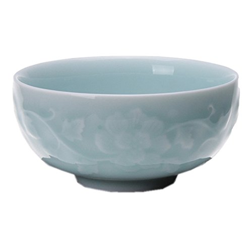 Bowl Sky Rice - Chinese Rice Bowl 10oz Celadon Dinnerware Engraved Peony 4.5Inch Porcelain(1, Sky Blue)