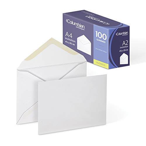 Columbian Invitation Envelopes, A2, 4-3/8 x 5-3/4 Inches, White, 100 Per Box (CO198)