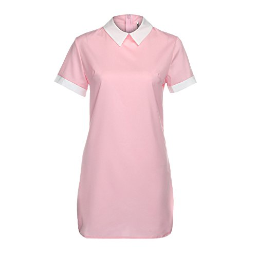 iLUGU Clean Mini Dress for Women Short Sleeve Turn-Down Collar Package Hip Summer Party Gown