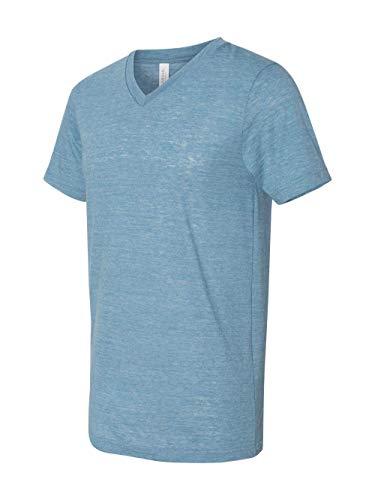Bella Canvas Men's Jersey Short Sleeve V-Neck Tee, Denim Slub, XX-Large