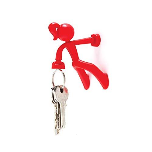Peleg Design Key Petite, Strong Girl Magnetic Key Holder Key Pete Key Hook Rack Key Magnet Key Organizer for Fridge Home Office, Red