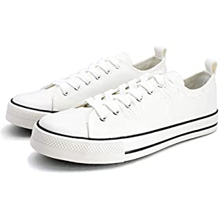 PepStep Canvas Sneakers for Women/Light Blue/Navy/Black Casual Shoes Low Top Lace up Fashion Sneakers (8.5, White)