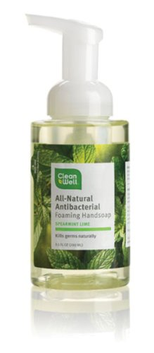 Cleanwell All Natural Anti Bacterial Foaming Hand Soap, Spearmint Lime, 9.5-Ounce Bottle (Pack of 4)