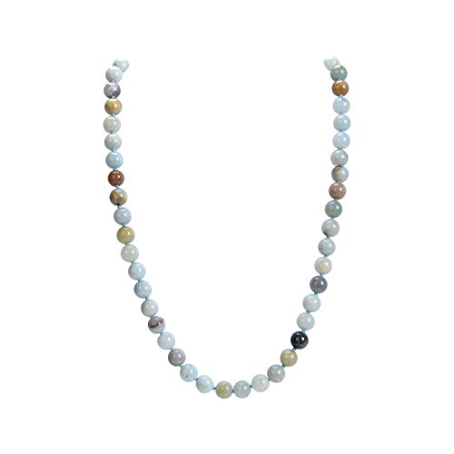 (Malahill Natural Gemstone Necklace, Hand Knotted Birthstone Necklace, 18 inches Long (Amazonite)