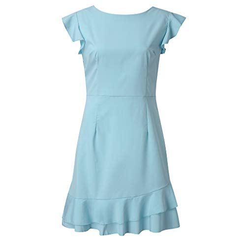 (Women's O Neck Vintage Shirred Frill Flared A Line Swing Casual Mini Dress Summer Holiday Beach Cocktail Party Dresses SFW90701312BUMT+)