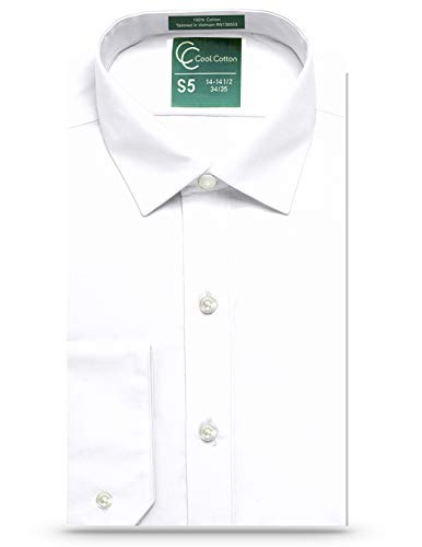 Cool Cotton Mens Regular Fit Dress Shirt or Tuxedo Shirt 100% Cotton, Spread Collar White