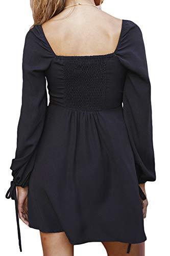 4c3ec01cfe FAFOFA Women Square Neck Button Down Puff Long Sleeve Flared Mini Dress at  Amazon Women s Clothing store