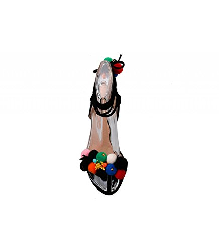Sandalia tacón. Detalle de flecos en parte delantera. Cierre multitiras con borlas. Tacón fino. Altura de tacón 10.0 cm. Negro