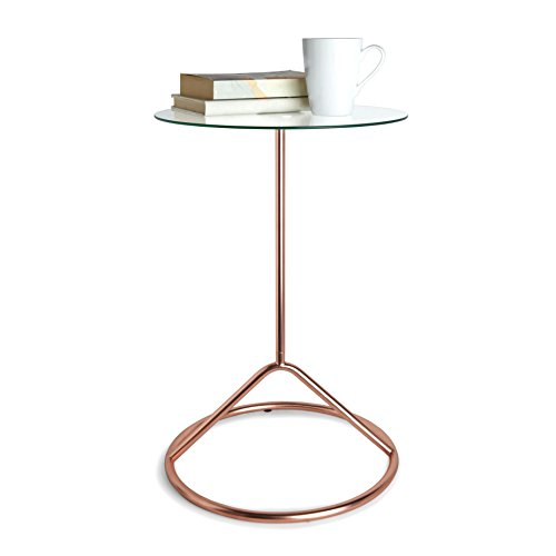 Tempered Glass Side Table with Looped Base