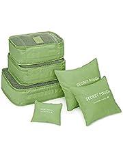 Organizador De Mala Bolsa Kit 6 Peças Para Viagem (Verde Musgo)