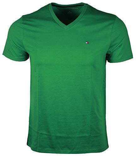 Classic Fit Logo T-shirt - Tommy Hilfiger Men V-Neck Classic Fit Logo T-Shirt (XS, Green)