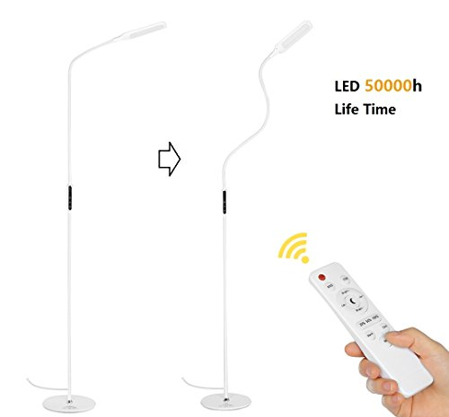 Floor Lamp LED Daylight Standing Eye-Care Energy Saving Remote Control Dimmable with Brightness Adjustment, Flexible Gooseneck for Living Room Bedrooms Study Reading (5 Color Temperatures,5-Level Dimmable,Timer Function, White)