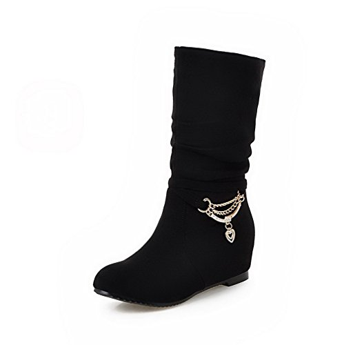 Toe Frosted Boots Closed AgooLar Heels Low Top Round Black On Low Pull Women's 5FFqpY