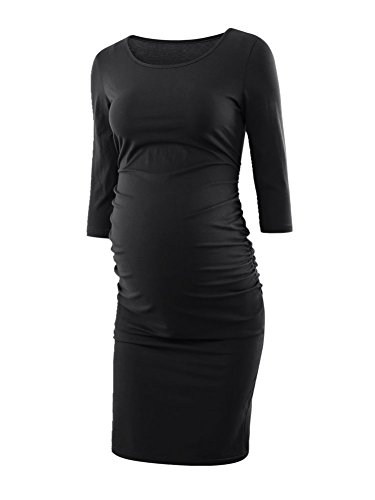 Liu   Qu Womens Ruched Maternity Bodycon Dress Mama Causual 3 4 Sleeve Wrap Dresses Black M